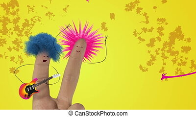 Shaggy punk hair finger guitar man sing fun rock love song to finger women. Valentines day joke. Yellow color.