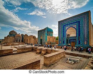 Shah-I-Zinda memorial complex. Samarkand, Uzbekistan. -...