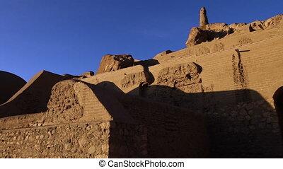 Shahr-e Zuhak, Zuhak City. Ancient eroded brick building...
