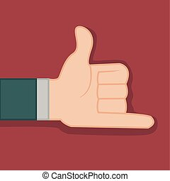 Shaka Calling Hand Gesture Vector Illustration Graphic...