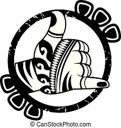 Shaka hand sign cartoon design vector - Retro vintage shaka...