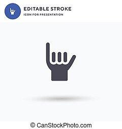 Shaka icon vector, filled flat sign, solid pictogram isolated on white, logo illustration. Shaka icon for presentation.