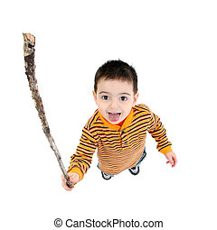 Shake A Stick At - Toddler boy, crazy face, shaking stick at...