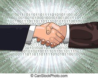 shake binarycode - Hands shaking with binary code background