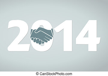 Shake hands - Year 2014 concept illustration with shake...