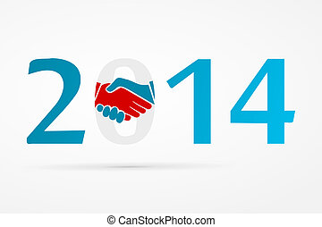 Shake hands - Year 2014 with shake hands logo