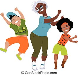 Senior black woman dancing with a little boy and a girl, EPS 8 vector illustration, no transparencies, isolated on white
