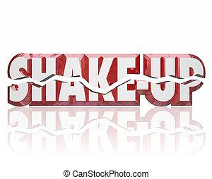 shake-up, 3d, palavras, disrupt, mudança, inove, melhorar