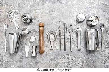 shaker, barre, cocktail, jigger, nourriture, boisson, confection, outils