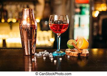 shaker, barzinhos, dados, alcoólico, contador, coquetel