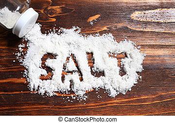shaker, bois, renversé, planche, fond, petit, sel