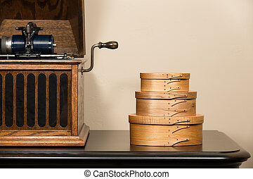 Shaker Boxes and Antique Phonograph