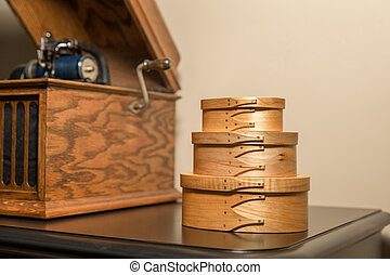 Shaker Boxes Near Antique Phonograph