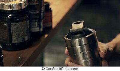 shaker., cocktail, snel, bodybuilder, proteïne, maakt