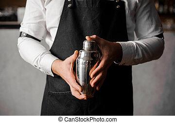 shaker, contador barra, contra, segurar passa, bartenders