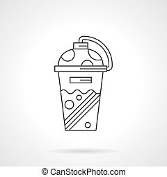 Shaker cup flat line vector icon