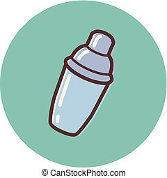 shaker, ilustração, coquetel