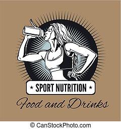 shaker, vrouw, -, sporten, drinkt, nutrition.