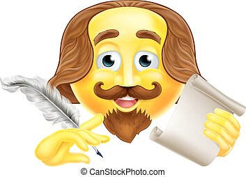 A Shakespeare emoji emoticon smiley face character holding a quill pen and scroll