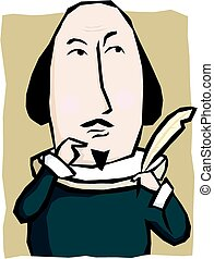 Shakespeare - A cartoon image of william shakespeare holding...