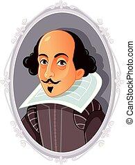 shakespeare william, caricatura, vector
