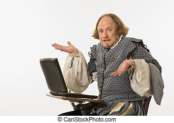 Shakespeare with computer. - William Shakespeare in period...