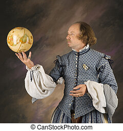 Shakespeare with globe. - William Shakespeare in period...