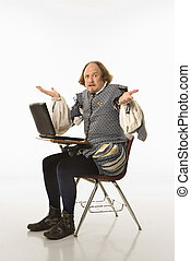 Shakespeare with laptop. - William Shakespeare in period...