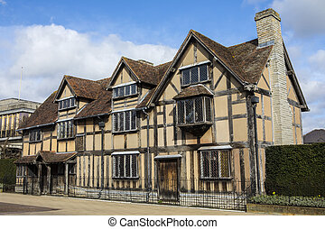 A view of the birthplace of famous playwright and poet William Shakespeare in Stratford-Upon-Avon, in the UK.