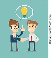 Business Man Shake Hand Concept Light Bulb New Idea -...