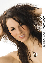 shaking hair - a nice portrait of a young and cute woman ...