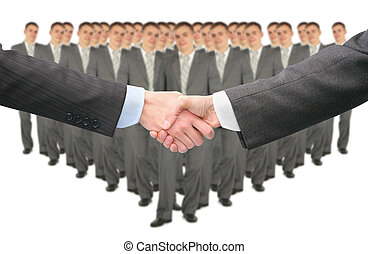 shaking hands and big business group collage