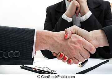 Shaking hands - Businessman and woman shaking hands while...