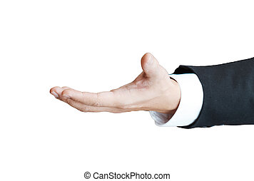 Shaking hands of male business people isolated on a white