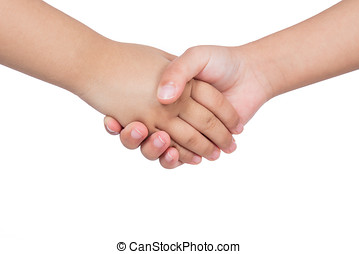 Shaking hands of two children