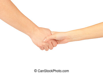 Shaking hands of two people, man and woman, isolated on white.