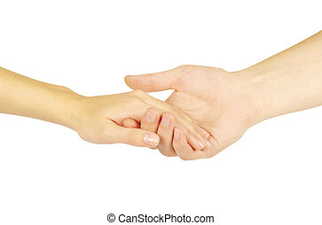 Shaking hands of two people, man and woman.
