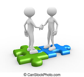 Shaking hands on puzzle pieces