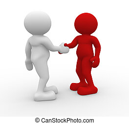 Shaking hands - Two 3d people shaking hands - 3d render...