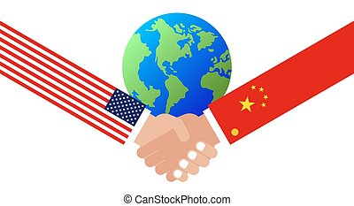 Shaking hands with China flag and United states flag vector