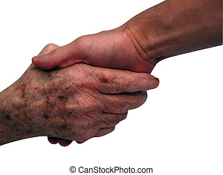 Shaking Hands - Young man shake hands with the senior (over...