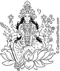 shakti, indio, diseño, diosa, su, bosquejo