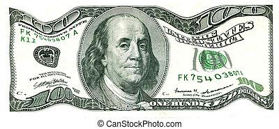 Shaky 100 US Dollar Bill