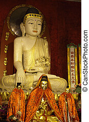 Shakyamuni buddha statue in a temple in Shanghai, China