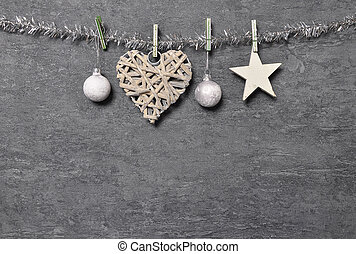 Shale board with Christmas decoration as background