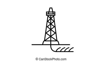 Shale Drilling line icon on the Alpha Channel - Shale ...