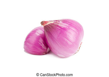 shallots isolated on white background.