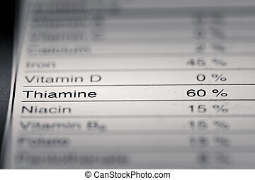 Shallow depth of Field image of Nutrition Facts Thiamine ...