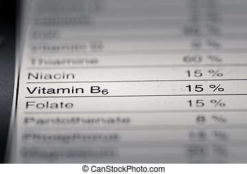 Shallow depth of Field image of Nutrition Facts Vitamin B6 ...