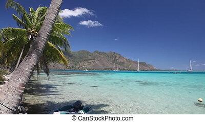 Shallow Lagoon of Tahiti Island in French Polynesia. Sailing...